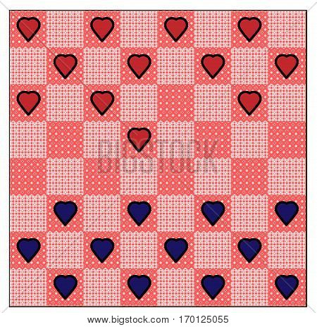 Valentine game of checkers on the board of pink lace