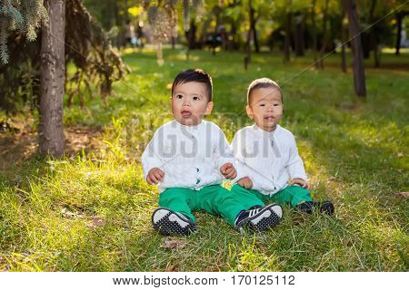 Two little Asian child playing in the Park sitting on the grass posing smiling