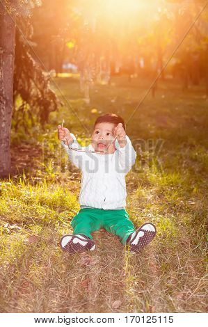 A small asian child plays in the Park sitting on the grass posing smiling. Little child holds the sunglasses