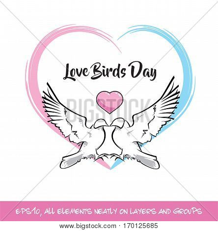 Love Birds Day Pink & Blue Heart