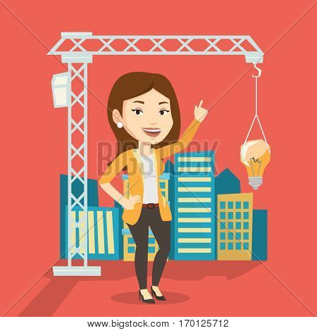 Young caucasian woman pointing at idea light bulb hanging on crane. Architect having idea in town planning. Concept of new ideas in architecture. Vector flat design illustration. Square layout.
