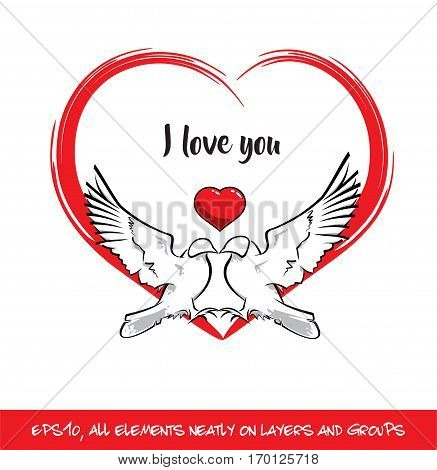 Love Birds I Love You Red Heart