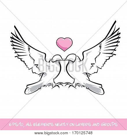 Love Birds Pink Heart