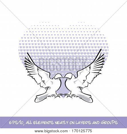 Love Birds Purple Heart Of Hearts