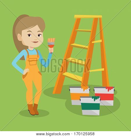 Female house painter holding a paintbrush. House painter with paintbrush in hand standing near step-ladder and paint cans. Concept of house renovation. Vector flat design illustration. Square layout.