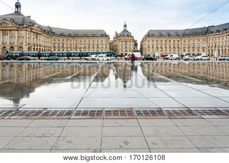 BORDEAUX, FRANCE - November 26, 2015 Street view of old town in bordeaux city, November 26, 2015 in bordeaux, France