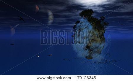Fantasy Floating Island  3D Render