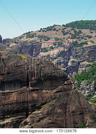 Rocks on the tops of which are located the monasteries of Meteora.