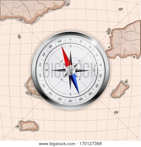 Modern compass on old map imitation. Vector illustration