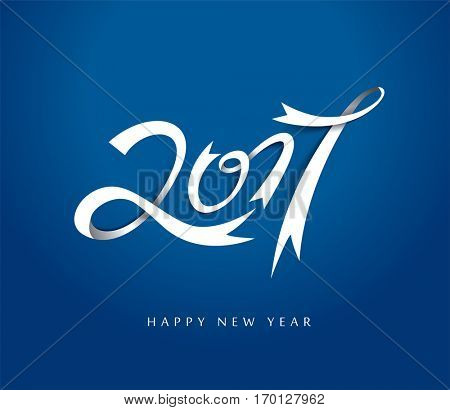 Happy New Year 2017 background. Calendar design typography vector illustration. Ribbon design with shadows.