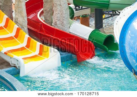 Picture of water slides in the aquapark in Oradea Romania