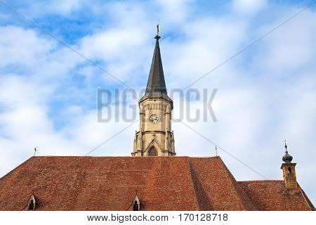 Picture of a catholic church's tower in Cluj-Napoca Romania