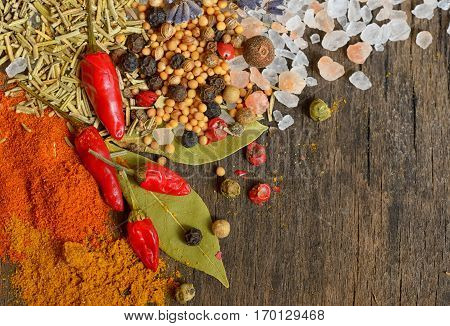 Ingredients for cooking on old wooden table