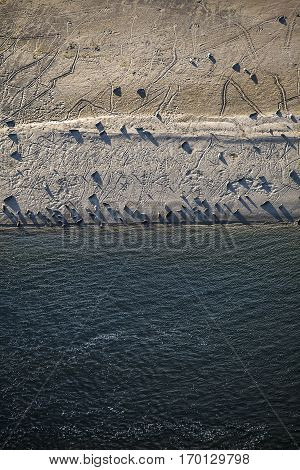 Aerial view of Robbeneiland beach with its colony of sea lions Ameland Frisian island The NetherlandsAerial view of Robbeneiland beach with its colony of sea lions Ameland Frisian island The Netherlands