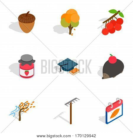 October icons set. Isometric 3d illustration of 9 october vector icons for web