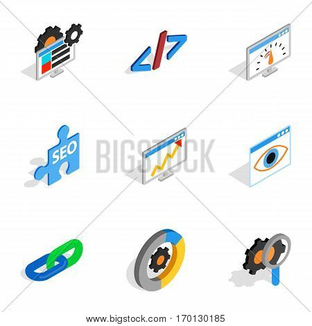 Search engine optimize concept icons set. Isometric 3d illustration of 9 search engine optimize concept vector icons for web