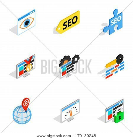 Analytics search information icons set. Isometric 3d illustration of 9 analytics search information vector icons for web