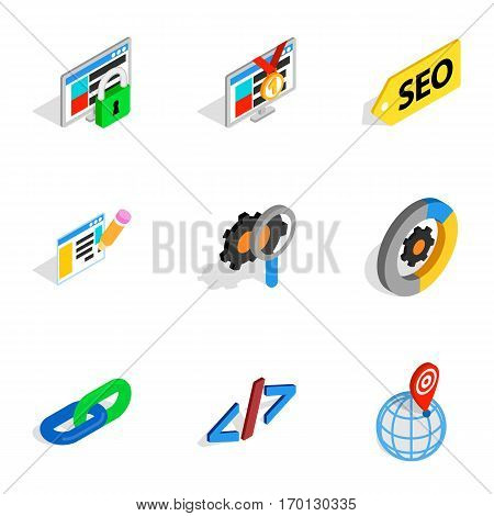 Search information and optimization icons set. Isometric 3d illustration of 9 search information and optimization vector icons for web