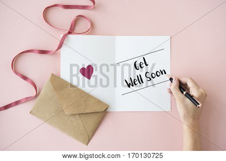 Get Well Soon Health Illness Sickness Wish Card Concept