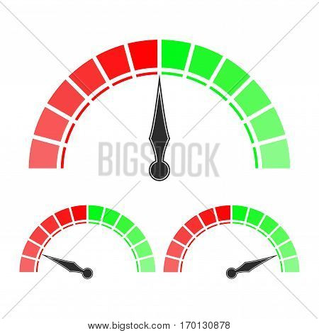 Measuring scale, red and green semi-circle dial. Vector illustration isolated on white background