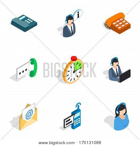 Support service icons set. Isometric 3d illustration of 9 support service vector icons for web