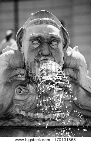 Classical Baroque fountain statue in Roma, Italy