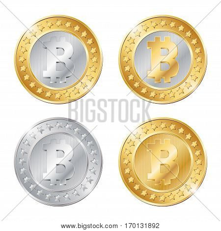 Vector Illustration Of Four Coins With Bitcoin Sign