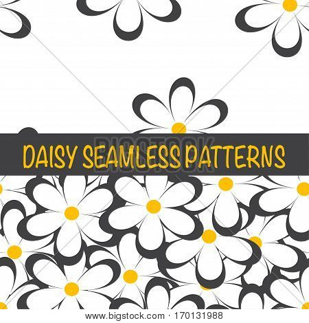 Set of seamless naive minimalistic patterns with little flowers. Floral print. Field of black camomiles on white background. For wrapping fabric and other design. Vector illustration.