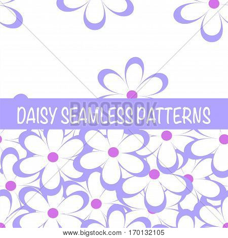 Set of seamless naive minimalistic patterns with little flowers. Floral print. Field of blue lilac camomiles on white background. For wrapping fabric and other design. Vector illustration.
