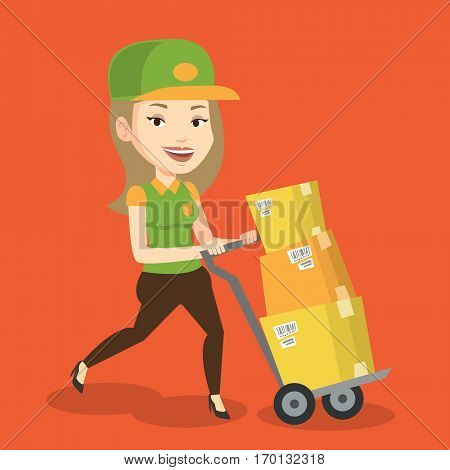 Caucasian delivery postman with cardboard boxes on trolley. Delivery postman pushing trolley with cardboard boxes. Delivery postman delivering parcels. Vector flat design illustration. Square layout.