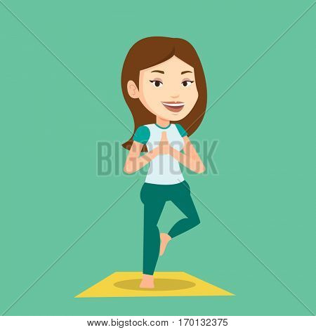 Young sportswoman standing in yoga tree pose. Caucasian sportswoman meditating in yoga tree position. Sporty woman doing yoga on the mat. Vector flat design illustration. Square layout.