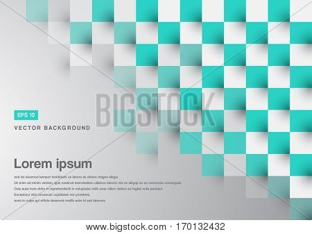 Abstract background green turquoise square pattern copy space vector