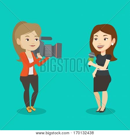 Professional caucasian female reporter with microphone presenting the news. Young operator filming reporter. Reporter and operator recording the news. Vector flat design illustration. Square layout.