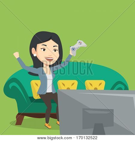 Happy gamer playing video game. An excited young woman with console in hands playing video game at home. Woman celebrating her victory in video game. Vector flat design illustration. Square layout.