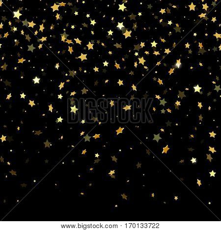 Golden paper foil sequins falling down isolated on black background. Vector gold star confetti rain festive holiday background.