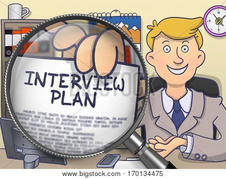 Officeman in Suit Looking at Camera and Showing Text on Paper Interview Plan Concept through Lens. Closeup View. Multicolor Modern Line Illustration in Doodle Style.