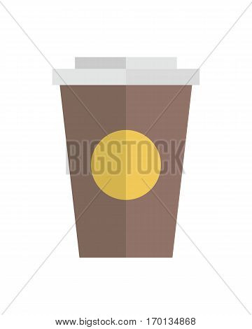 Paper or plastic container for food products or drinks. Brand disposable tableware. Coffee, chocolate, ice cream in cup. Packaging for liquid or thick fast food. Isolated on white background