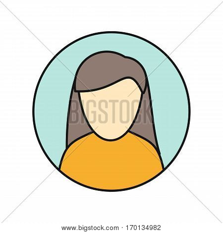 Young woman private avatar icon. Young woman in orange dress. Social networks business private users avatar pictogram. Round line icon. Isolated vector illustration on white background.