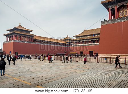 Beijing, China - Oct 30, 2016: Meridian Gate (Wumen); the main gateway into the Forbidden City (Gu Gong, Palace Museum).