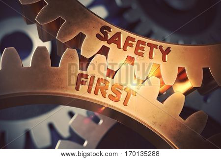 Safety First on Mechanism of Golden Gears with Glow Effect. Safety First - Illustration with Glowing Light Effect. 3D Rendering.
