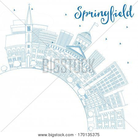Outline Springfield Skyline with Blue Buildings and Copy Space. Business Travel and Tourism Concept. Image for Presentation Banner Placard and Web Site.