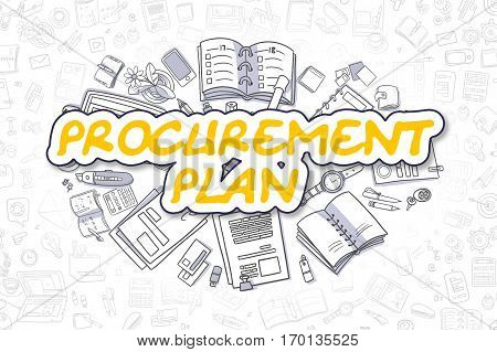 Procurement Plan Doodle Illustration of Yellow Text and Stationery Surrounded by Cartoon Icons. Business Concept for Web Banners and Printed Materials.