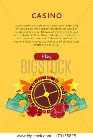 Casino poster with roulette wheel, coins dice money chips craps stars isolated on yellow. Gambling luck, fortune and bet, risk and leisure, jackpot chance. Casino banner. Vector illustration