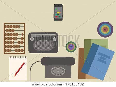 Many functions carries a modern mobile phone. Vector illustration.