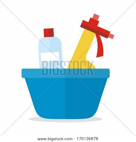 Basin with washing cleaners. Glass cleaner and substance for washing isolated on white. Sign icon symbols of clean in house. House washing equipment. Office and hotel cleaning. Housekeeping. Vector