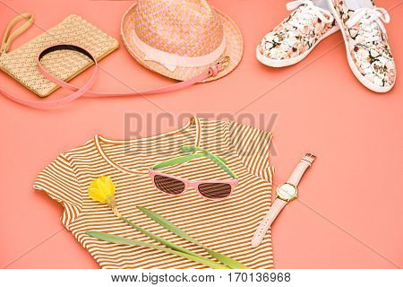 Summer Hipster style.Design Spring Fashion girl clothes set, accessories.Trendy sunglasses, floral gumshoes.Summer hipster dress, fashion watch hat, spring flower.Summer Urban woman look.Perspective view