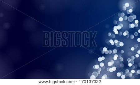 Christmas Tree Unfocused Blurred Lights on the Dark Wide Blue Background with an Empty Space for a Text Message