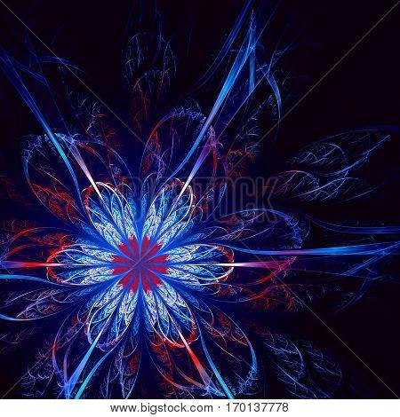 blue Dark abstract fractal flower. Fractal artwork for creative design.