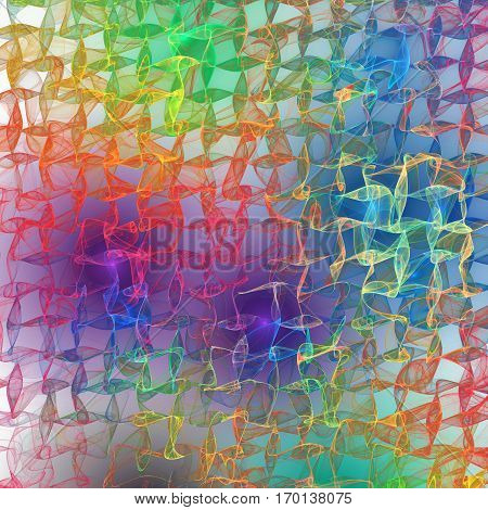 Abstract Glowing Rainbow Waves On White Background. Psychedelic Fractal Texture. Digital Art. 3D Ren