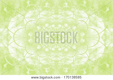 Abstract Intricate Lacy Ornament In Light Green Colors. Fantasy Fractal Background. Digital Art. 3D